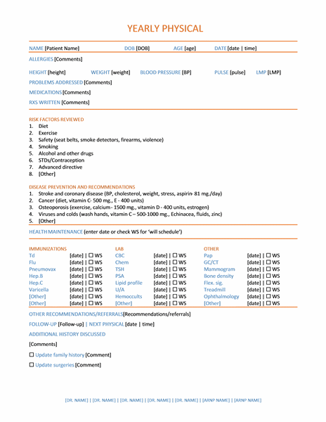 Yearly Physical Exam Online Form Templates Microsoft Word