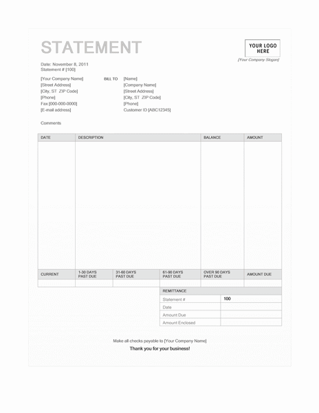 01 Billing Statement (blue Background Design)
