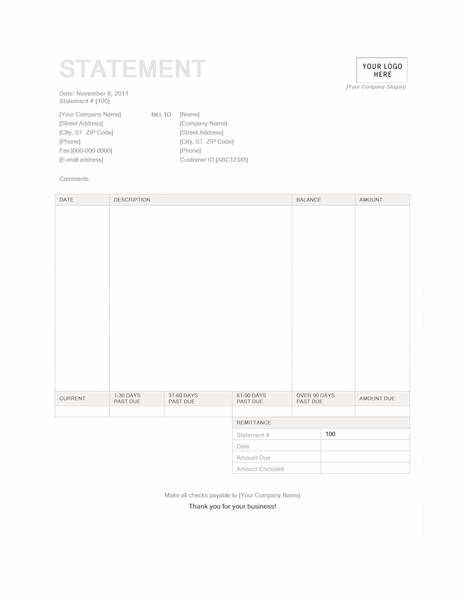 02 Billing Statement (blue Background Design)