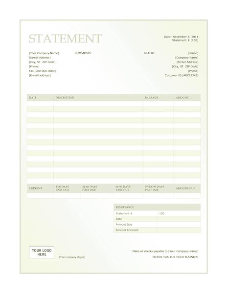 03 Billing Statement (green Gradient Design)