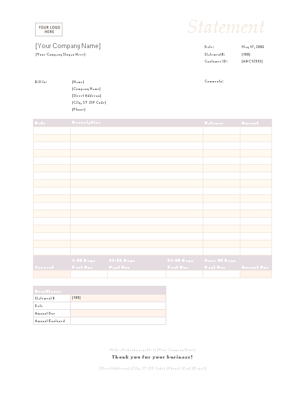 02 Billing Statement (simple Blue Design)