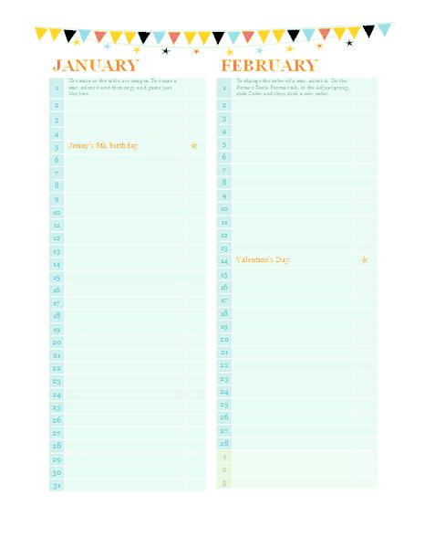 anniversary calendar