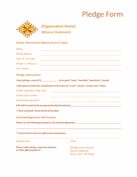 Word 2013 Donation Form