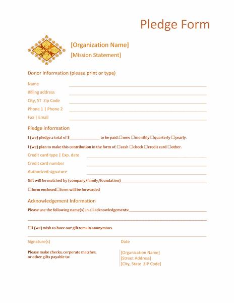 02 Donation Pledge Form Templates Microsoft Word
