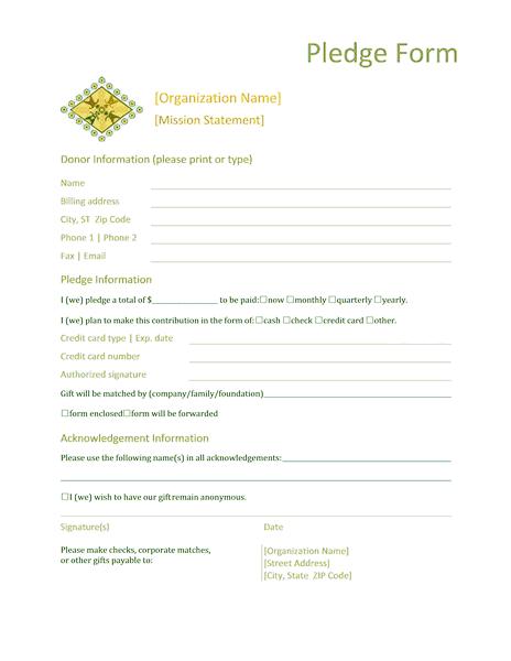 Donation Pledge Form Templates Microsoft Word Reports Form