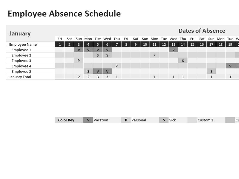 Download 01 Employee Absence Schedule 2013 2014 2015 2016