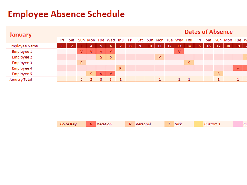 02 Employee Absence Schedule 2013 2014 2015 2016