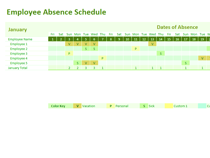 03 Employee Absence Schedule 2013 2014 2015 2016