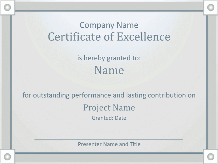 01 Employee Award Certificate Of Excellence Template