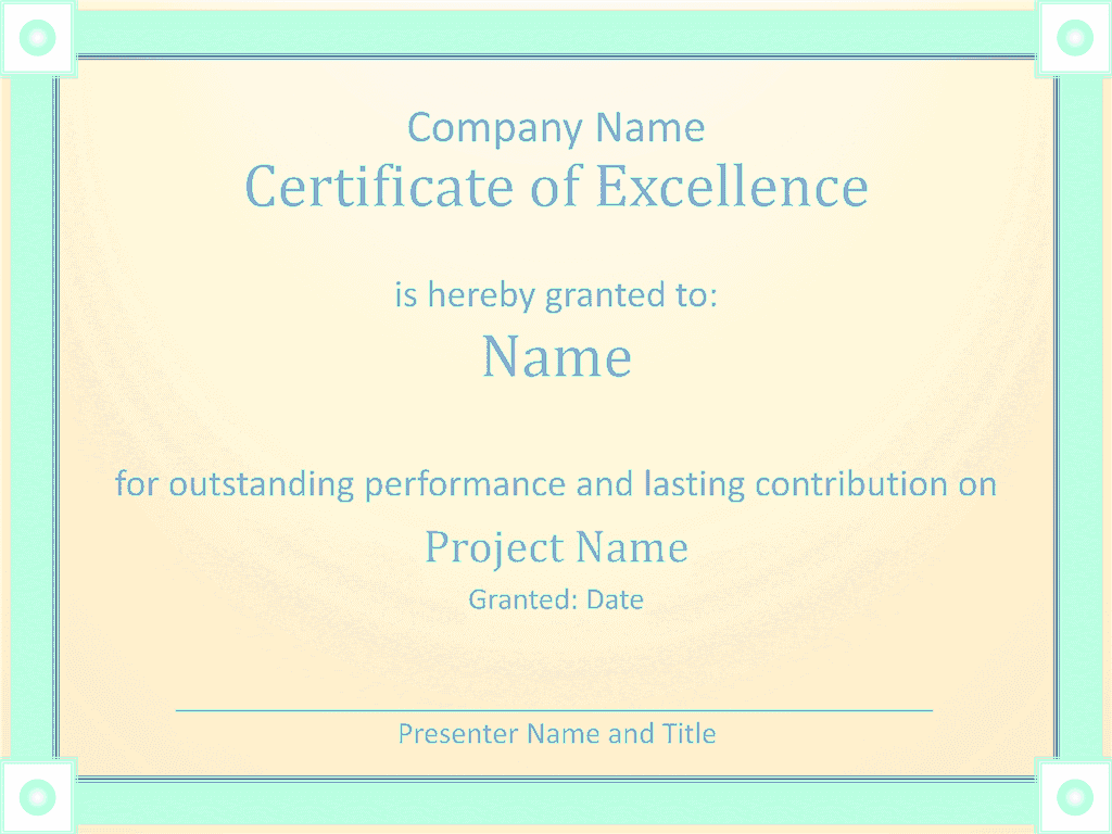 Download Certificate Of Employee Excellence Template for Microsoft – Certificate of Excellence Template Word