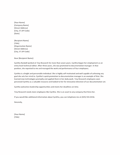 Download employee reference letter for manager word for Microsoft office letter of recommendation template