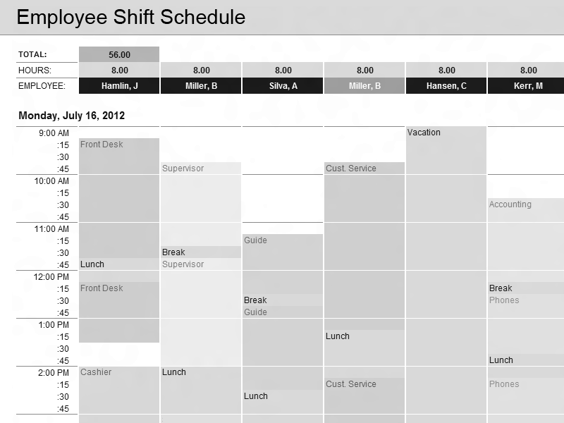 01 Employee Shift Schedule Excel