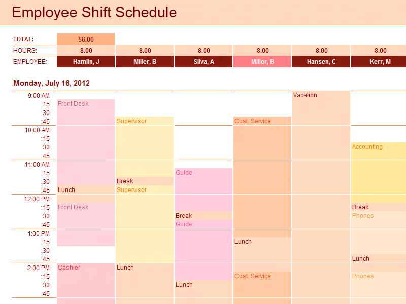 02 Employee Shift Schedule Excel