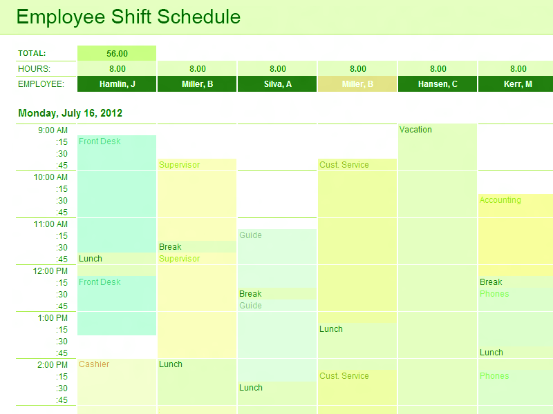 03 Employee Shift Schedule Excel