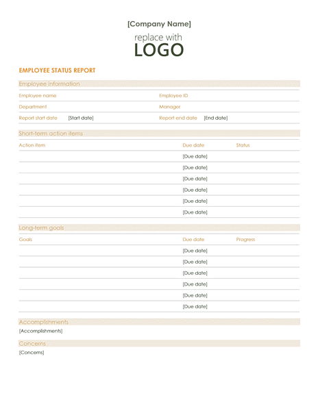 Download 03 Employee Status Report Template Word