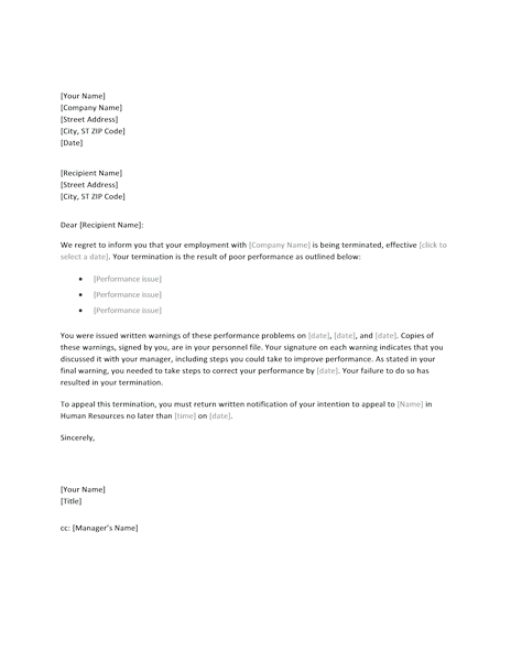 03 Employee Termination Letter Word Format Sample Template
