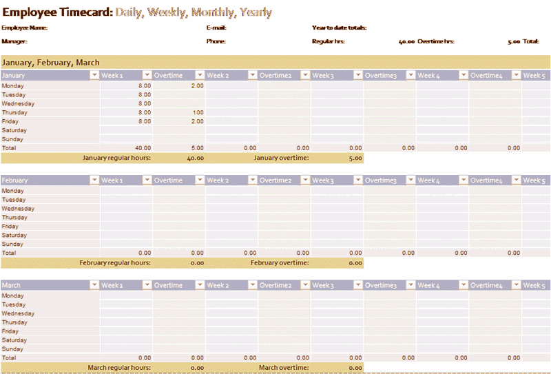 Download 02 Employee Timecard Excel 2013 Template