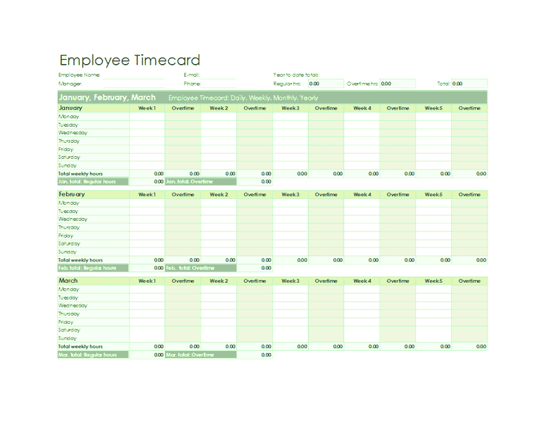 Download 03 Employee Timecard Excel Template