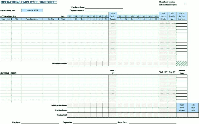 03 Employee Timecard Template