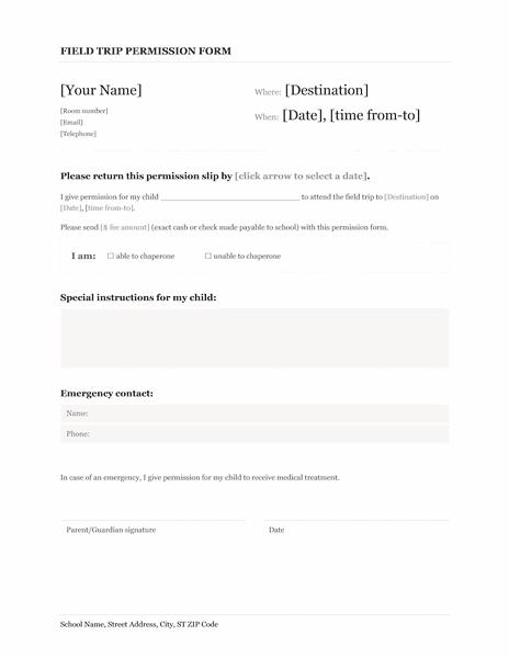 02 Field Trip School Permission Form Template Microsoft Word