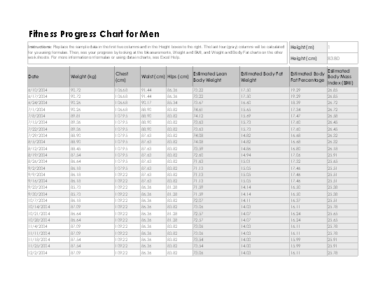 01 Fitness Progress Chart For Men (metric)