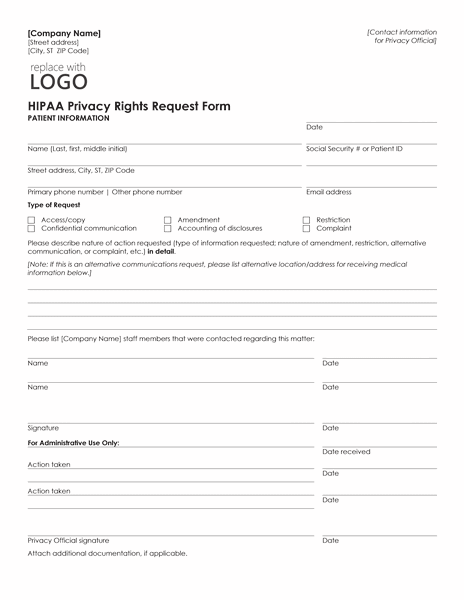 02 Hipaa Privacy Rights Request Form Template Microsoft Word