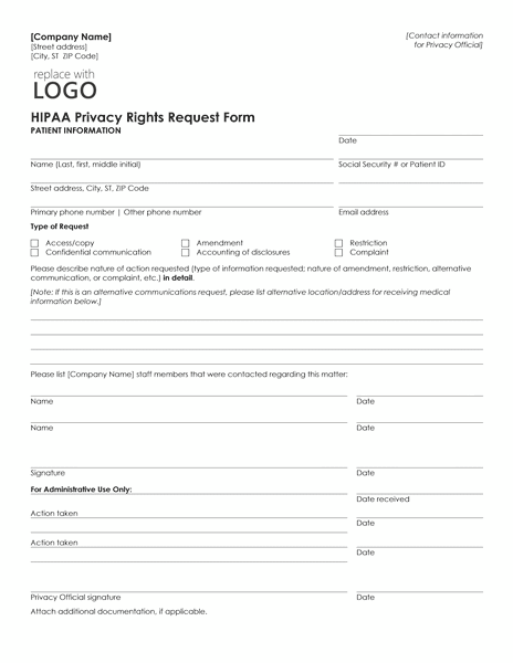 03 Hipaa Privacy Rights Request Form Template Microsoft Word