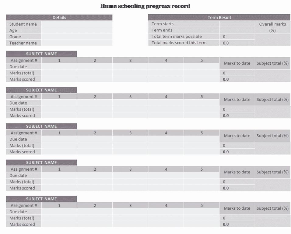 01 Home Schooling Progress Record