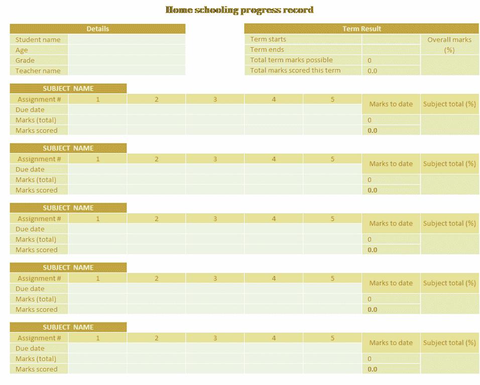 02 Home Schooling Progress Record