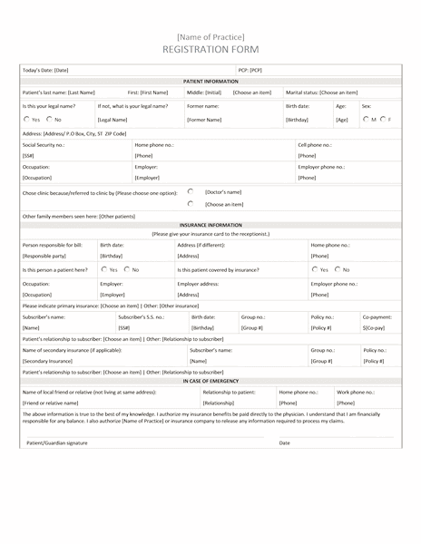 02 Hospital Patient Registration Form Templates Microsoft Word
