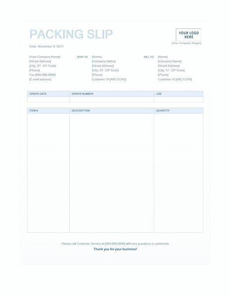 03 Packing Slip (blue Background Design)