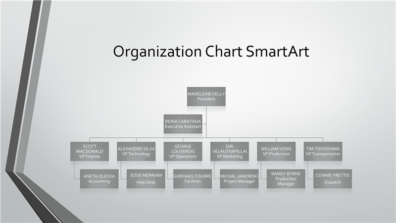 01 Powerpoint Organizational Grey Chart With Green Border