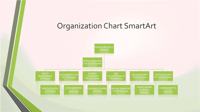 02 Powerpoint Organizational Grey Chart With Green Border