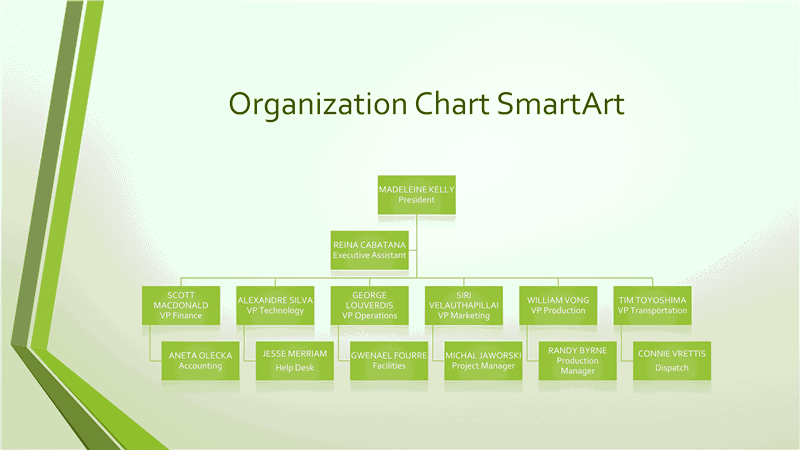 03 Powerpoint Organizational Grey Chart With Green Border