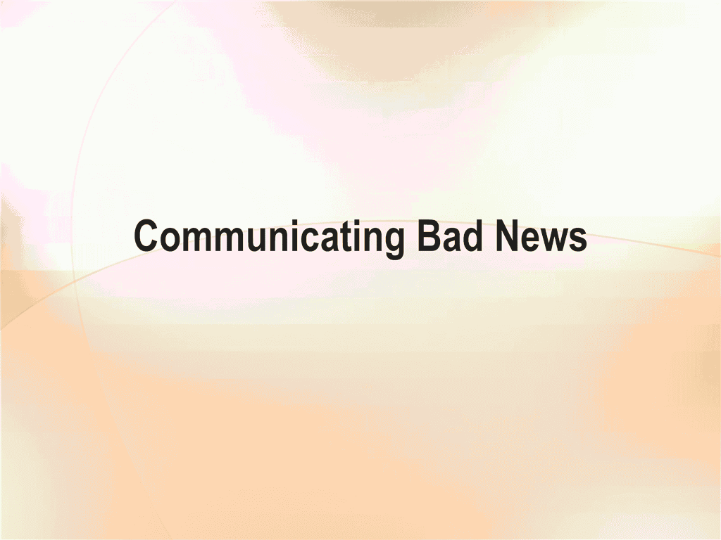 02 Presentation Of Bad News