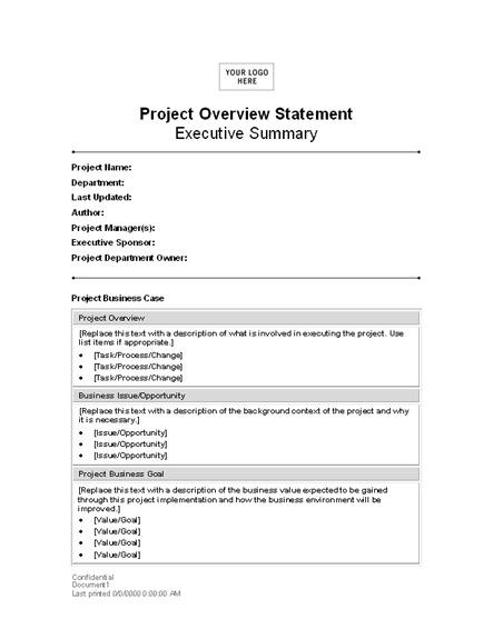 Project Overview Statement Statements Templates – Project Overview Template