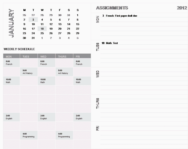Download 01 Student Weekly Planning Calendar (any Year, Mon-sun)