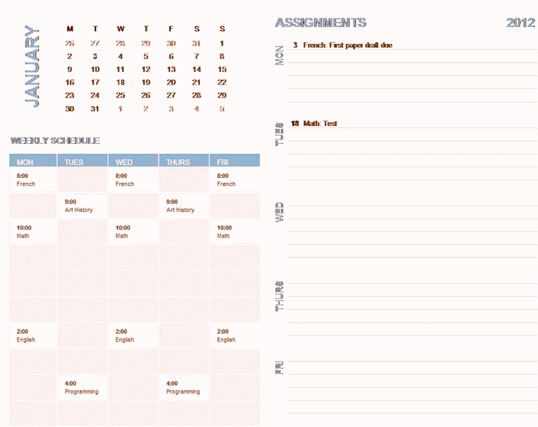 Download 02 Student Weekly Planning Calendar (any Year, Mon-sun)