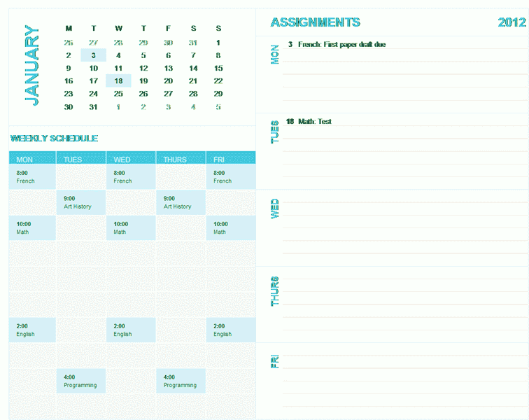 Download 03 Student Weekly Planning Calendar (any Year, Mon-sun)