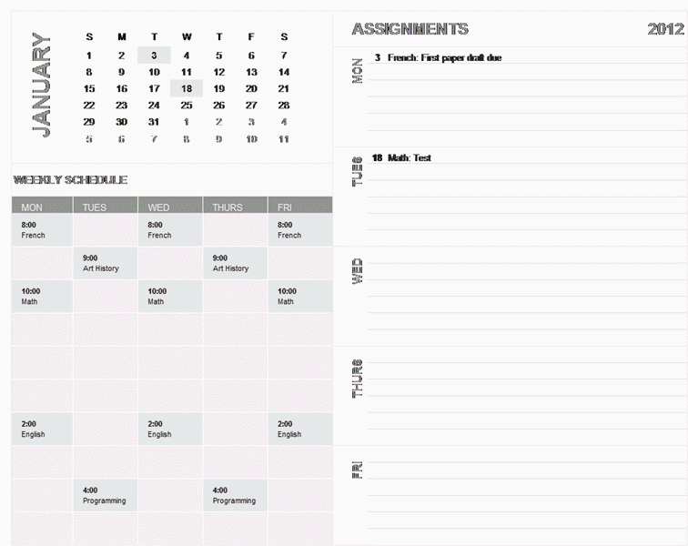 Download 01 Student Weekly Planning Calendar (any Year, Sun-sat)