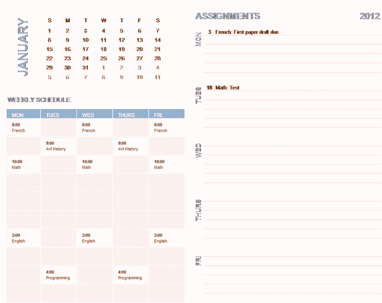 Download 02 Student Weekly Planning Calendar (any Year, Sun-sat)