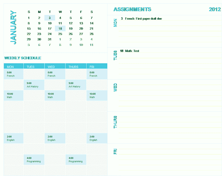 Download 03 Student Weekly Planning Calendar (any Year, Sun-sat)