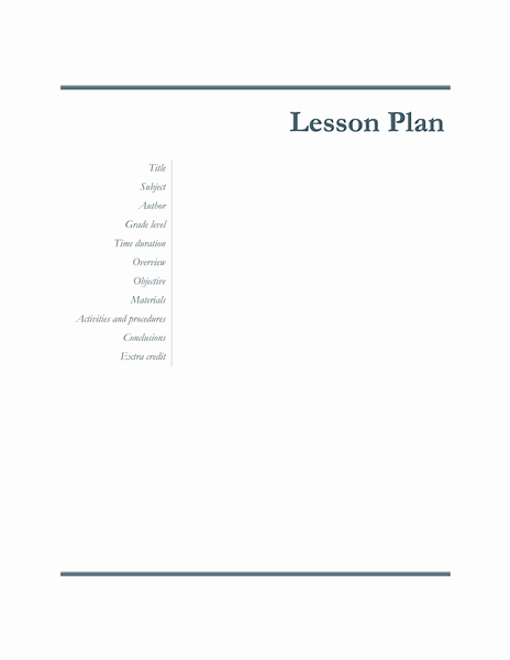 01 Teachers Class Simple Lesson Plan
