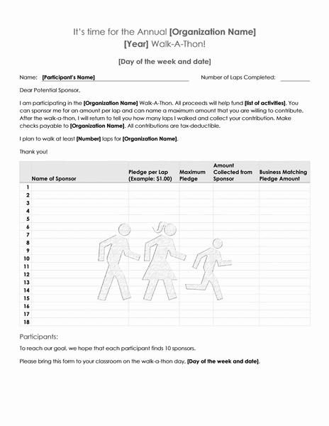 01 Walk A Thon Fundraiser Pledge Form Template Microsoft Word