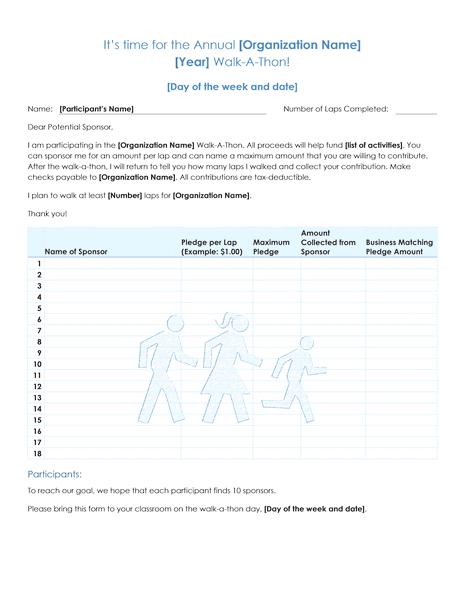 03 Walk A Thon Fundraiser Pledge Form Template Microsoft Word