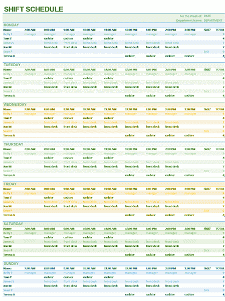 03 Weekly Employee Shift Schedule Excel Template