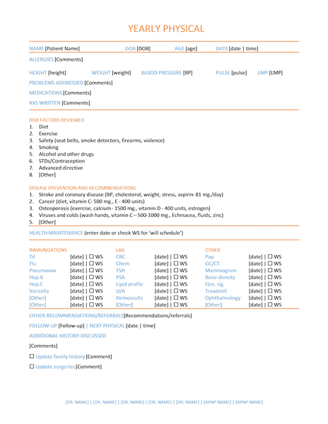 physical examination form template